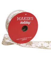 Makers Holiday Christmas Ribbon 1.5X30-Gold Snowflakes on White