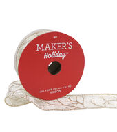 Makers Holiday Christmas Ribbon 1.5X30-Glitter Branch on Ivory