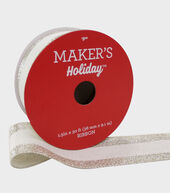Makers Holiday Christmas Ribbon 1.5X30-White with Glitter Edge