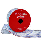 Makers Holiday Christmas Ribbon 2.5X25-Silver  and  Blue Glitter Stripes