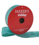 Makers Holiday Christmas Lame Ribbon 1.5x30-Aqua Lime