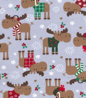 Snuggle Flannel Fabric 42inches-Christmas Moose