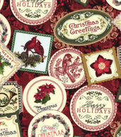 Christmas Cotton Fabric 43inches-Christmas Greetings Stamps