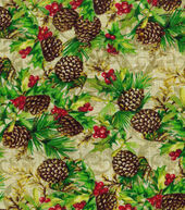 Christmas Cotton Fabric 43inches-Pinecones  and  Berries