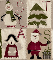Christmas Cotton Fabric 43inches-Christmas Cut Outs Patch
