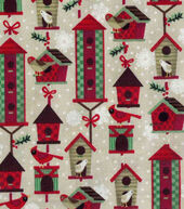 Christmas Cotton Fabric 43inches-Christmas Birdhouses