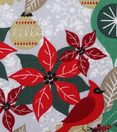 Christmas Cotton Fabric 43inches-Cardinal Ornaments