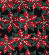 Christmas Cotton Fabric 43inches-Poinsettia Berries