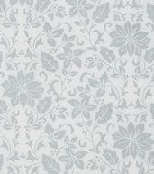 Christmas Cotton Fabric 43inches-Metallic Poinsettia Vines