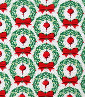 Christmas Cotton Fabric 43inches-Wreaths  and  Ornametns