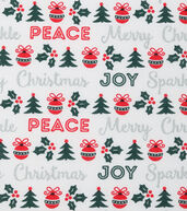 Christmas Cotton Fabric 43inches-Metallic Christmas Words