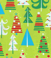 Christmas Cotton Fabric 43inches-Bright Christmas Trees