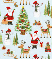 Christmas Cotton Fabric 44inches-Christmas Characters