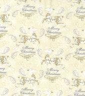 Christmas Cotton Fabric 43inches-Metallic Prancing Reindeer