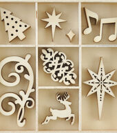 Kaisercraft Christmas Jewel Mini Themed Wooden Flourishes-Fancy Xmas