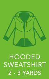 Mens Hooded Sweatshirt 2 to 3 yards.