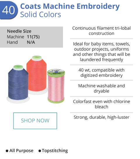 Machine Embroidery - Solid Colors