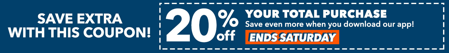 20% off your total purchase in-store & online