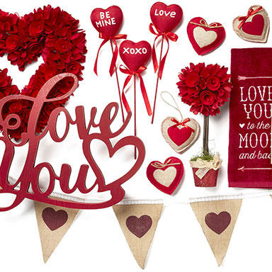 50% Off ENTIRE STOCK Valentine's Day Decor, Textiles, Entertaining, Ribbon & Candles