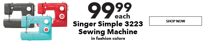 99.99 each  Singer Simple 3223 Sewing Machines in Fashion Colors. Shop Now.