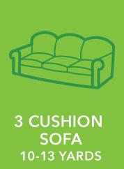 3 Cushion Sofa. 10-13 Yards.