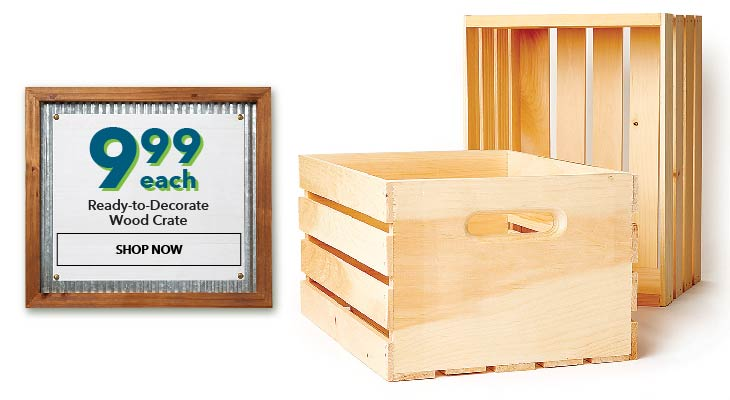 $9.99 Ready to Decorate Wood Crate. Shop Now.