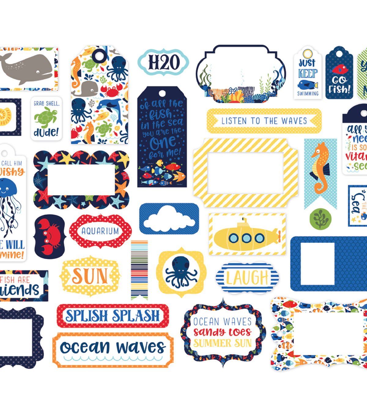 Echo Paper Company Ephemera Die Cut Frames & Tags-Under The Sea