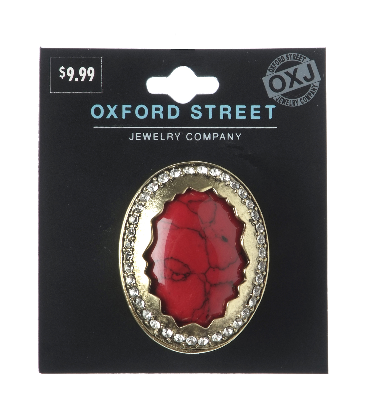 Oxford Street Jewelry Co. Large Red Crackle Stone RIng