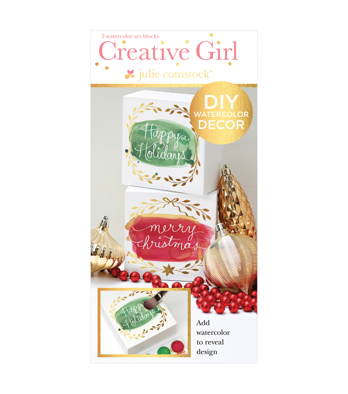 Creative Girl by Julie Comstock™ Watercolor Art Blocks, Merry & Happy