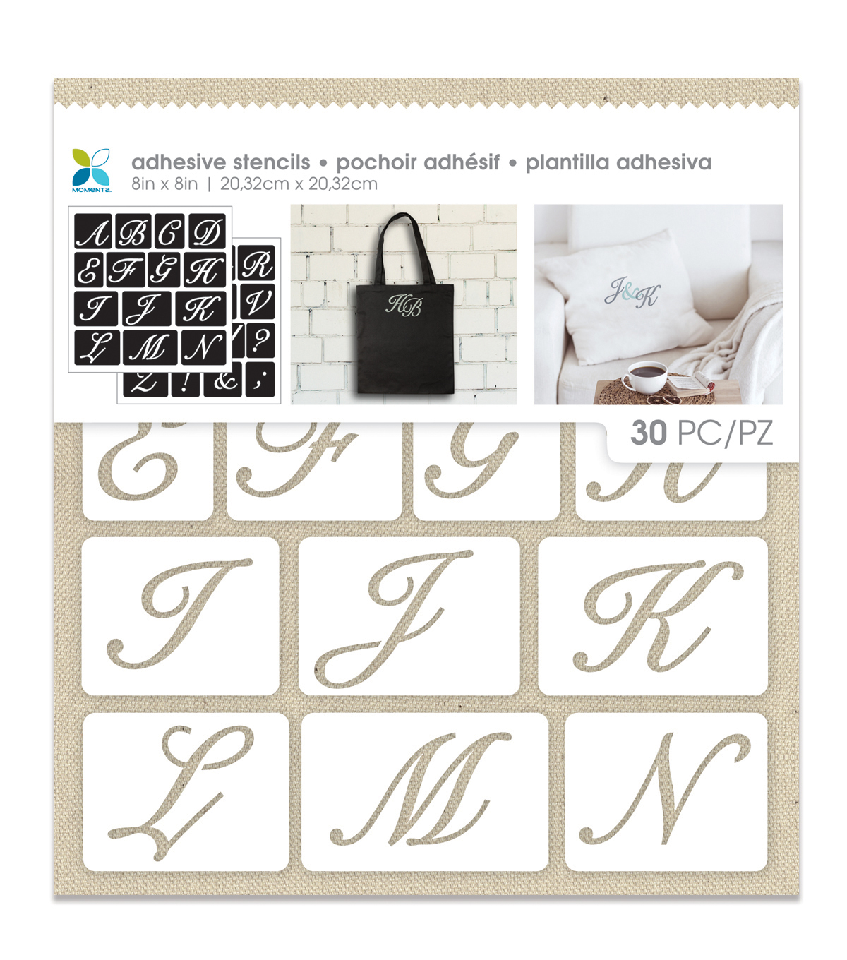 Momenta 30 Pack 8''x8'' Adhesive Fabric Stencils-Uppercase Script Alpha