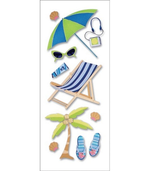 A Touch Of Jolee\u0027s A Day At The Beach Dimensional Stickers-Sunbathing