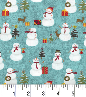 "Maker's Holiday Cotton Fabric 43""-Snowmen and Trees"