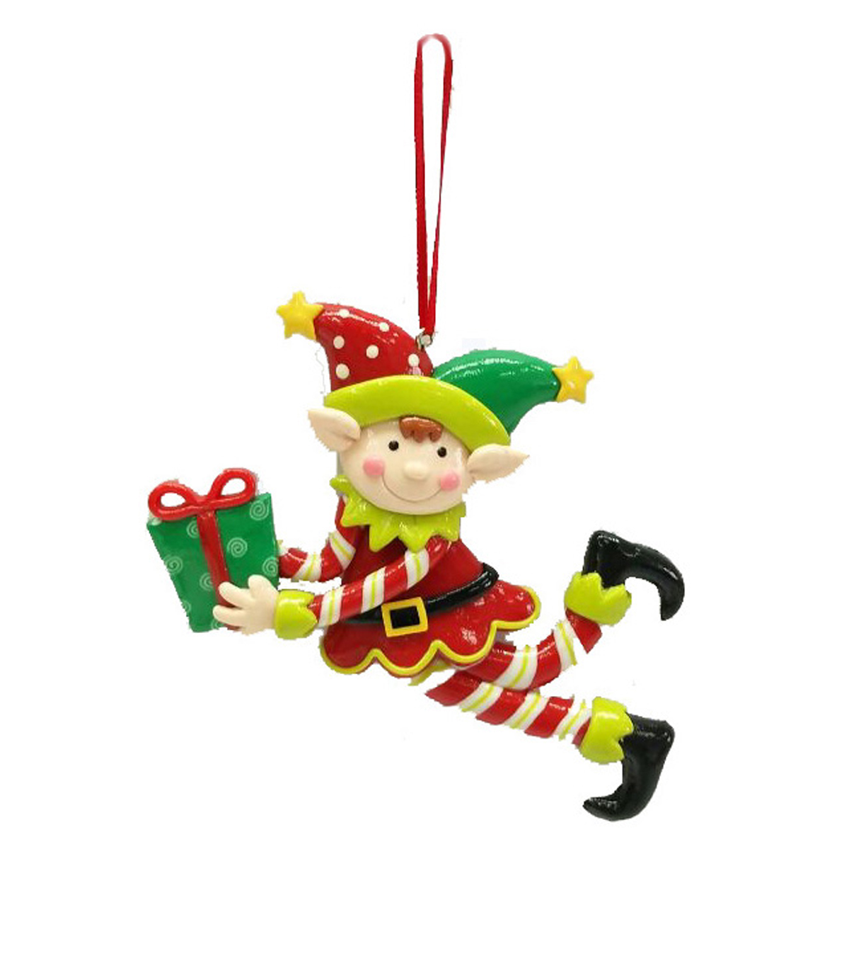 Maker\u0027s Holiday Christmas Whimsy Workshop Clay Elf With Present Ornament