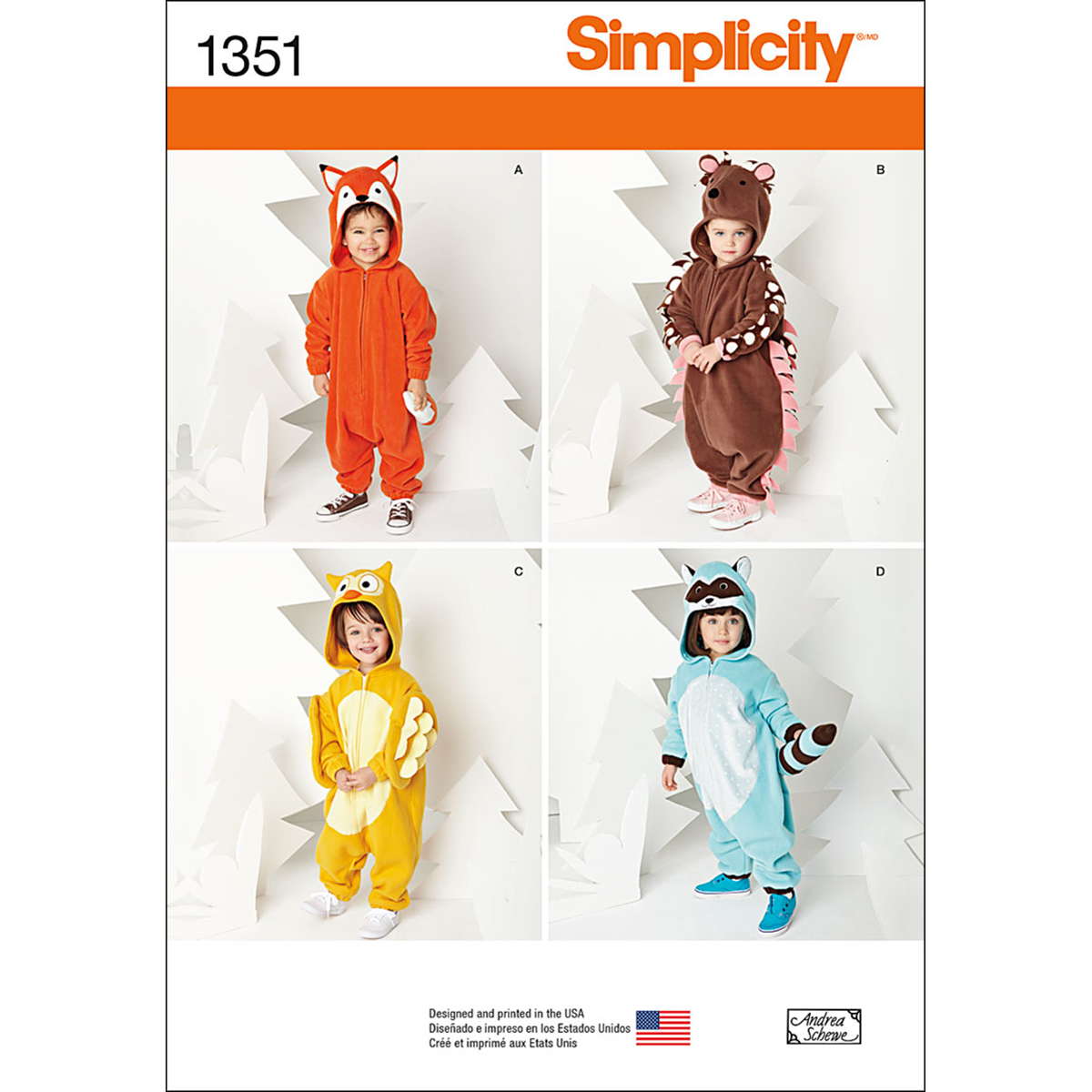 Simplicity Pattern 1351A Toddlers\u0027 Animal Costumes-Size 1/2-1-2-3