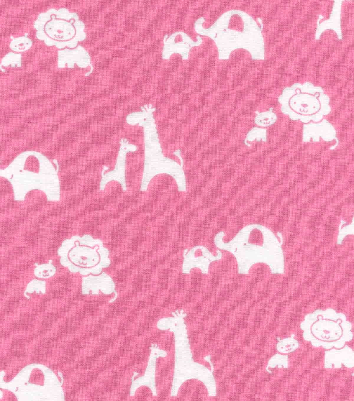 Nursery Cotton Fabric 43\u0027\u0027-2 By 2 Sweet Animals on Pink
