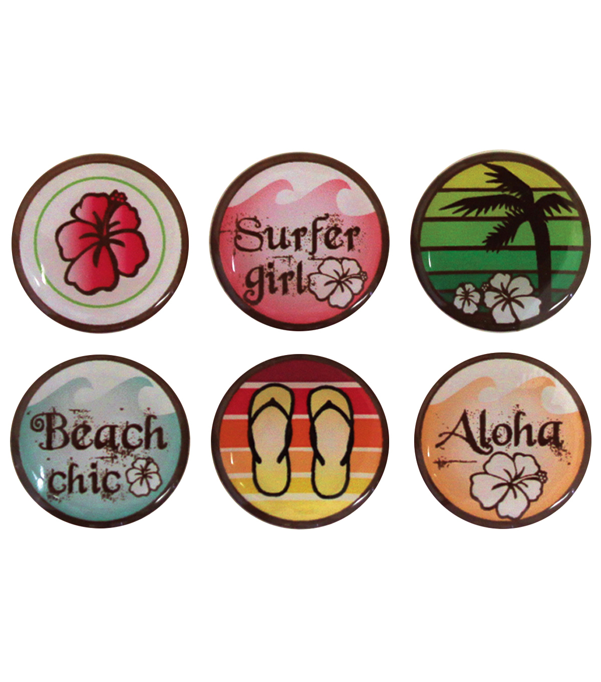 Vintage Collection Epoxy Stickers 1\u0022 6/Pk-Surfer Girl