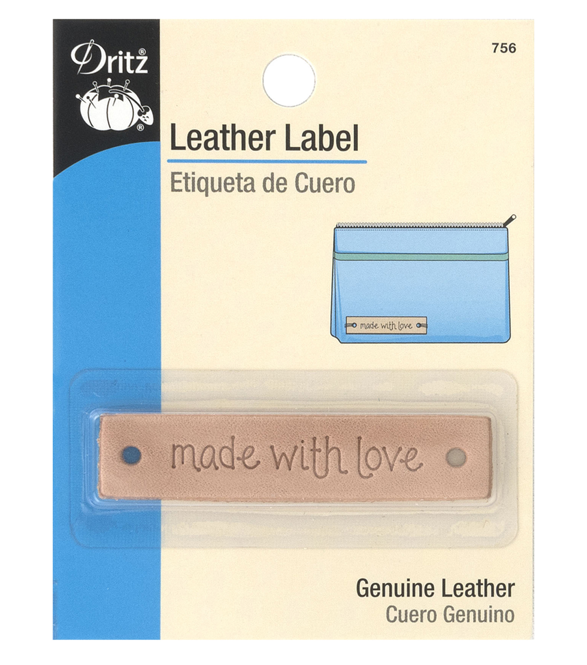 Dritz Leather Rectangle Label-made with love
