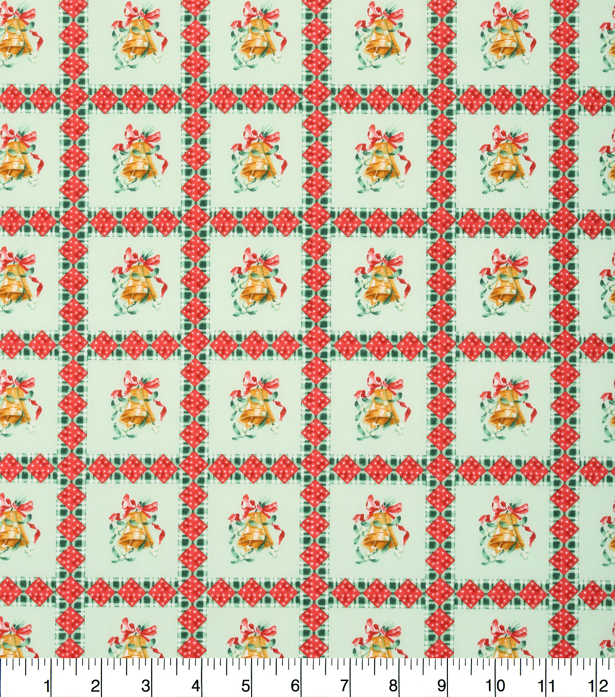 Keepsake Calico™ Holiday Cotton Fabric 43\u0022-Bells in Plaid