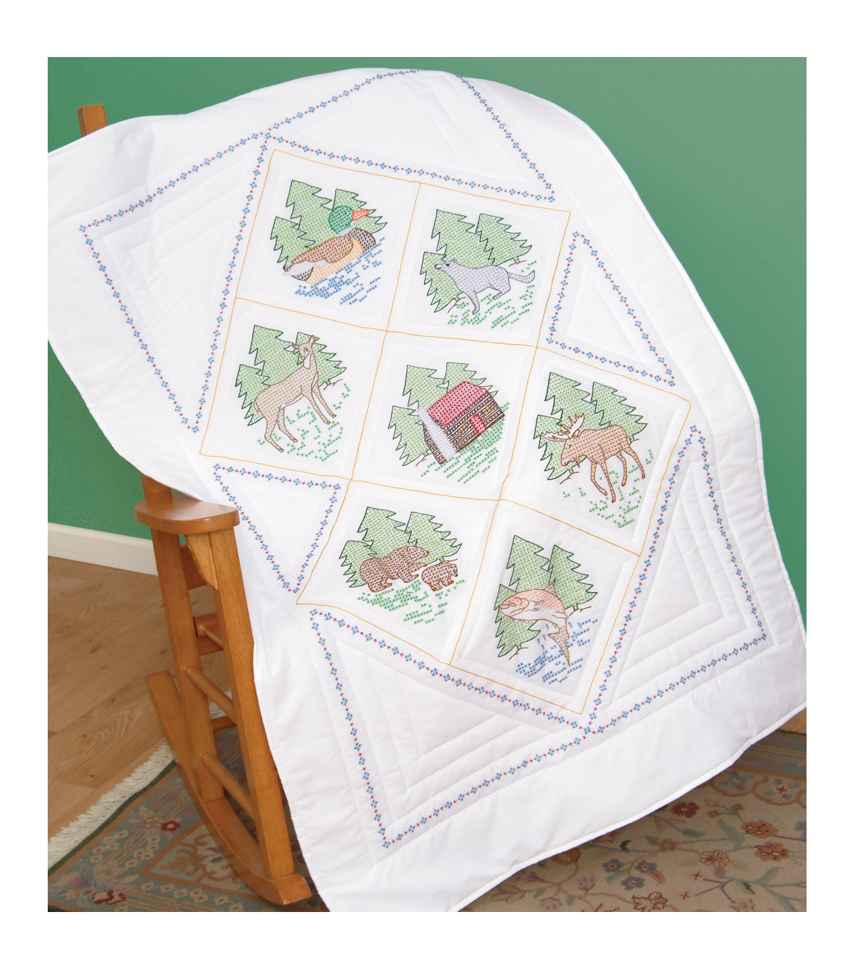 Jack Dempsey Stamped White Lap Quilt Top Great Outdoors