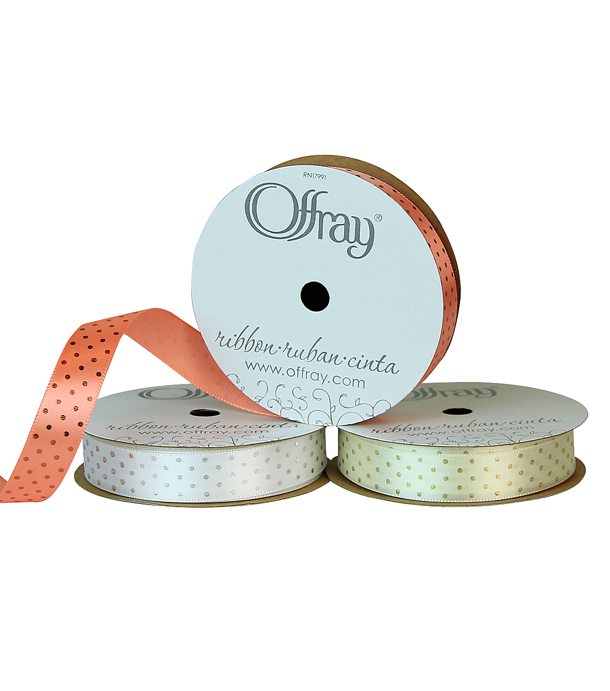 Offray 5/8\u0022x9\u0027 Metallic Dots Single Faced Satin Ribbon