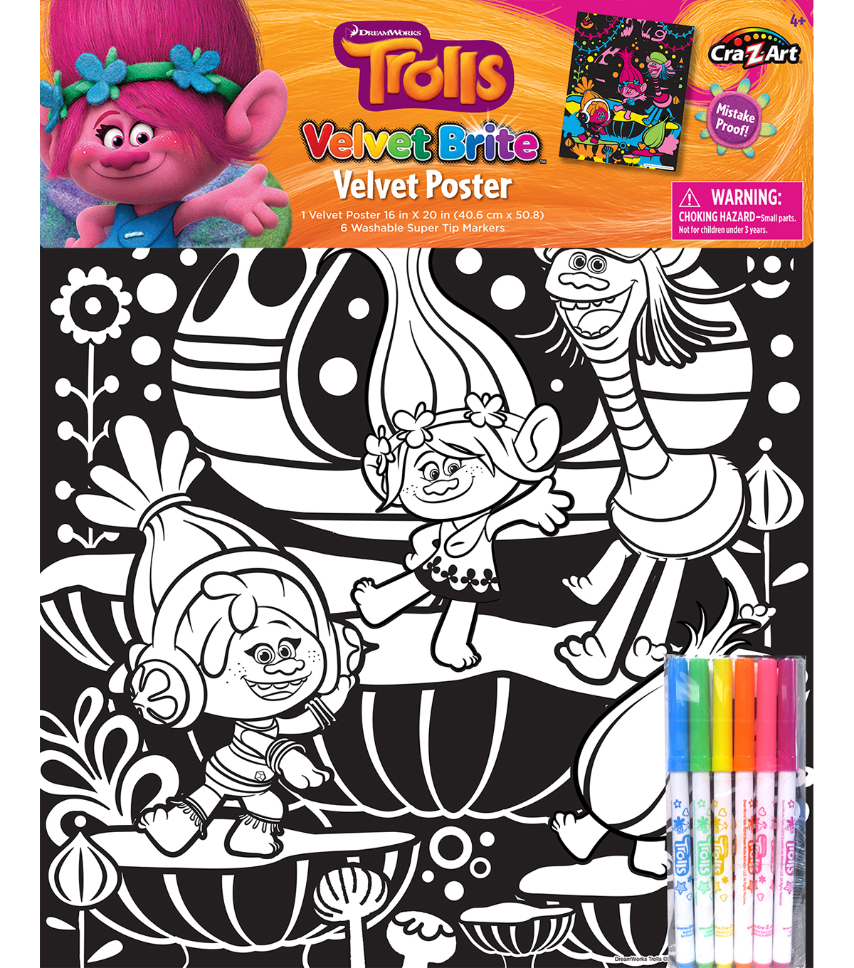 Dreamworks Trolls Coloring Poster Markers