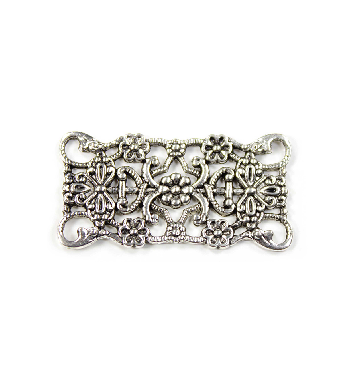 Blue Moon Findings Connector Metal Filigree Rectangle Antique Silver