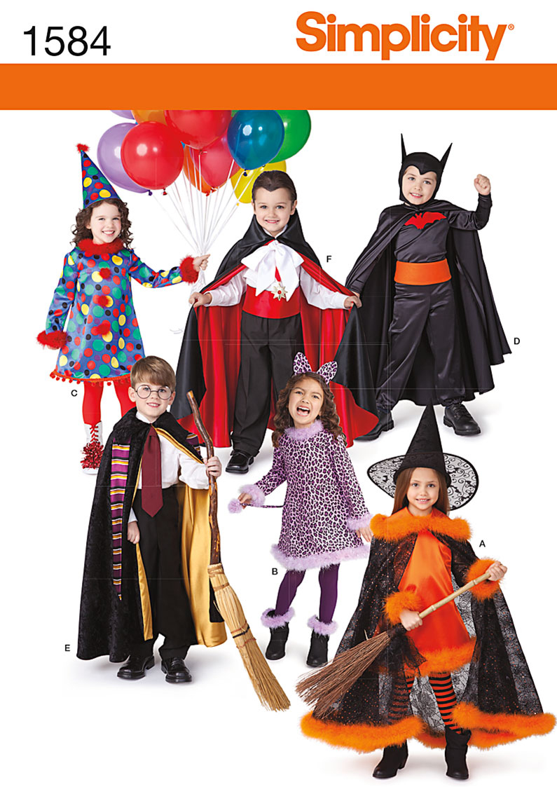 Simplicity Pattern 1584A Child\u0027s Costumes-Size 3-4-5-6-7