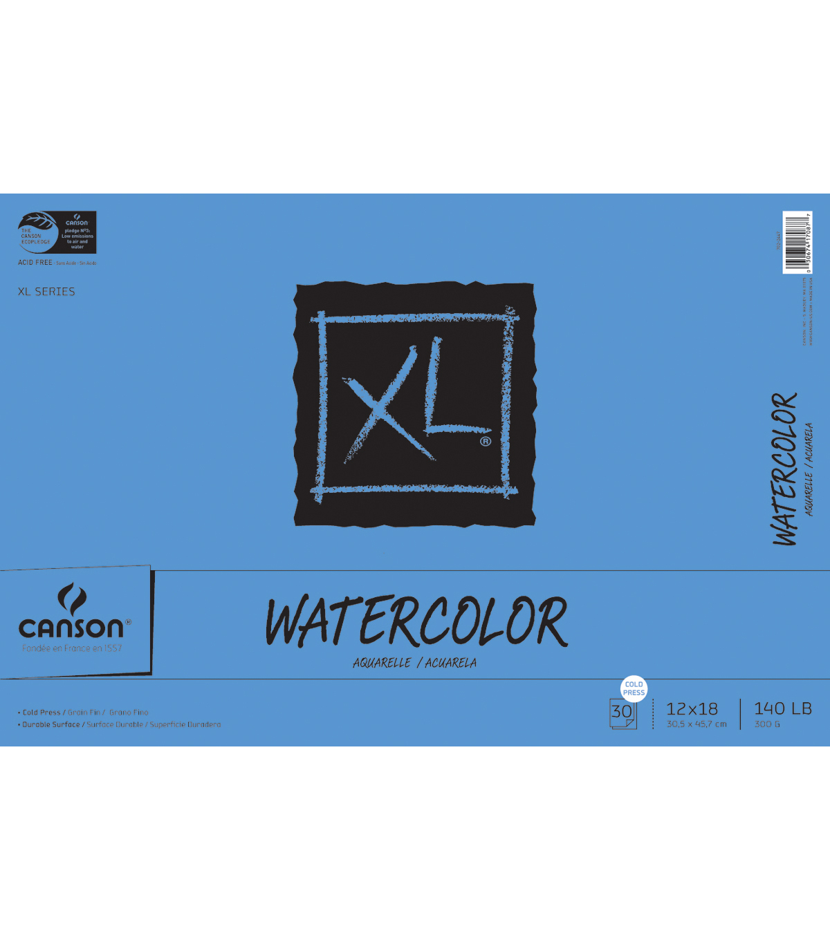 "Canson XL Watercolor Paper Pad 12""X18""-30 Sheets"