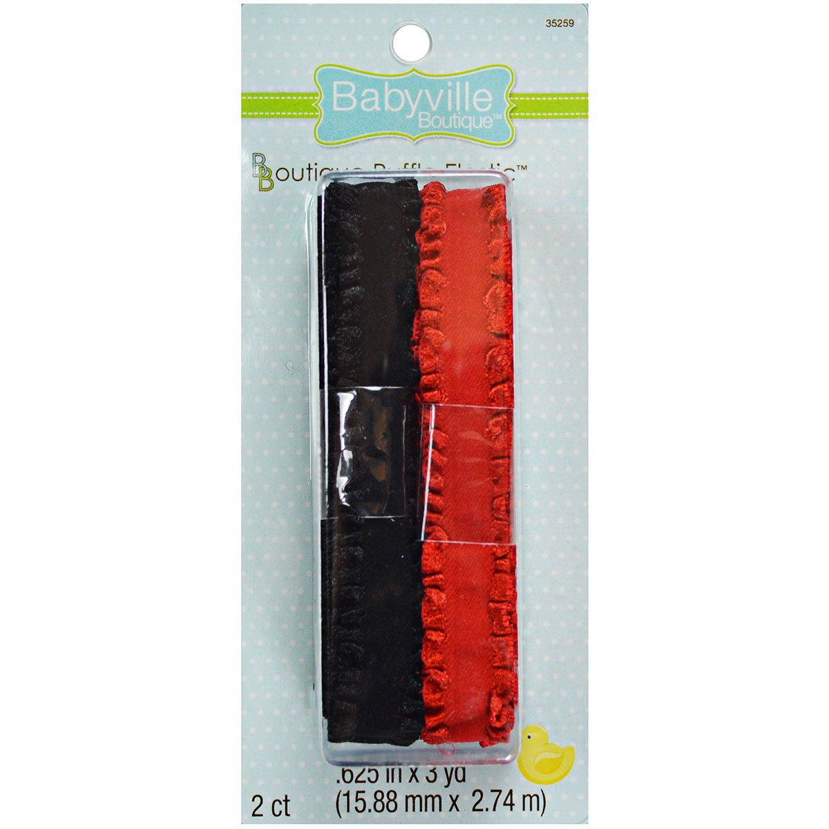 "Babyville Boutique 0.63"" x 3 Yds Ruffled Elastic Red Black"