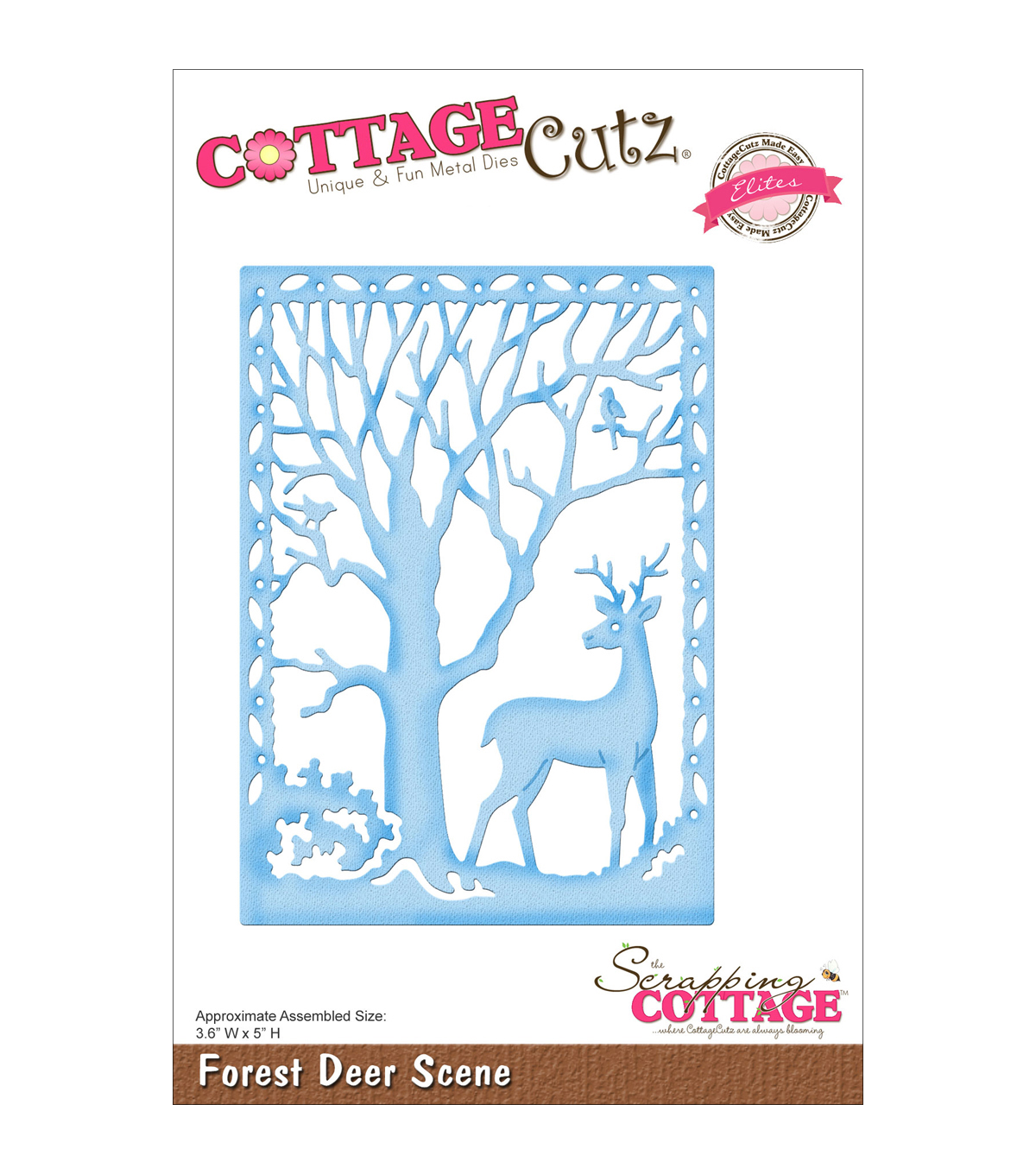 CottageCutz Elites Die -Forest Deer Scene 3.6\u0022X5\u0022