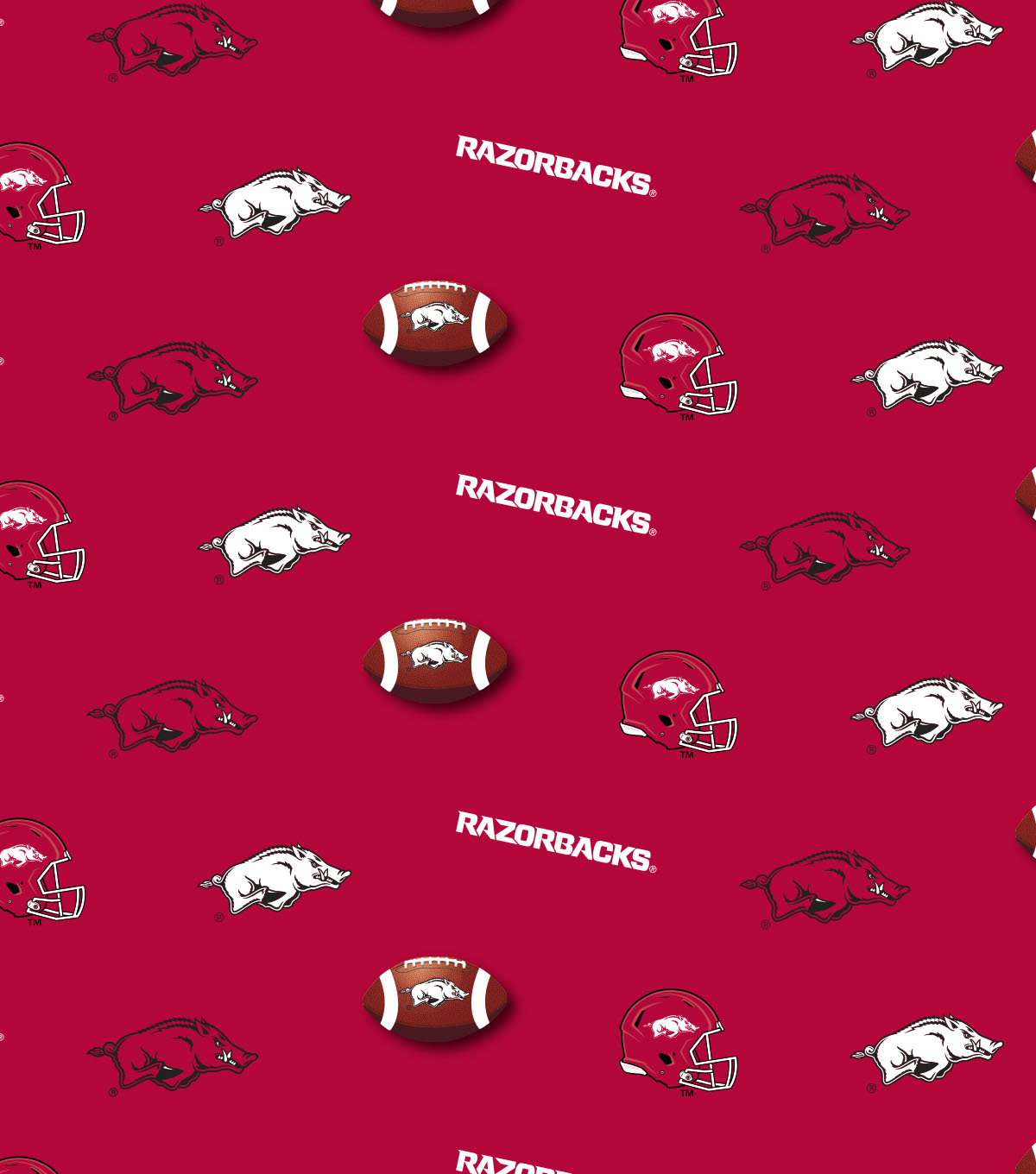 University of Arkansas Razorbacks Cotton Fabric 44\u0022-Red All Over