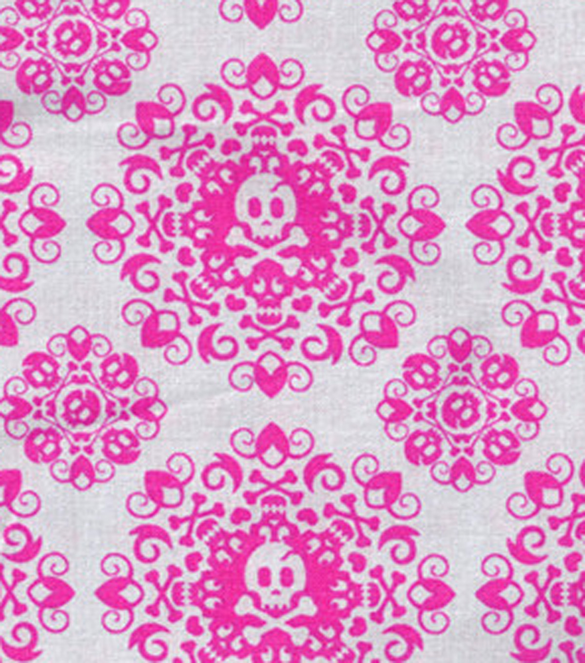 "Novelty Cotton Fabric 43""-Skull Lace"