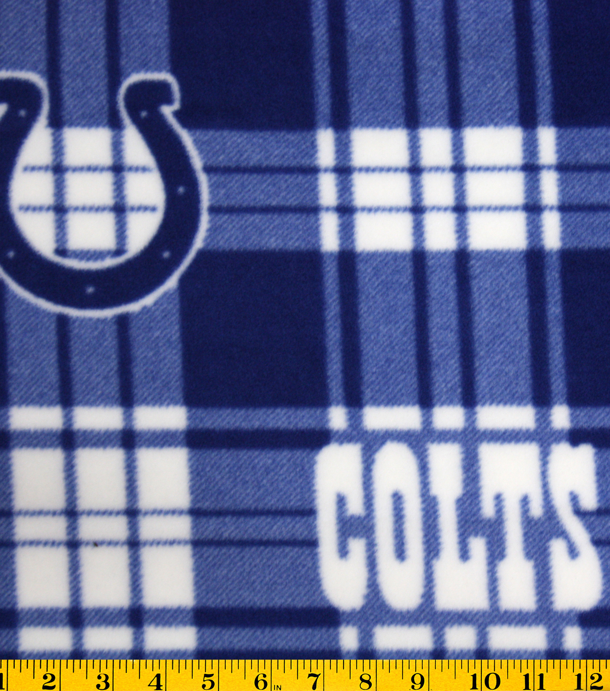 "Indianapolis Colts Fleece Fabric 58""-Plaid"