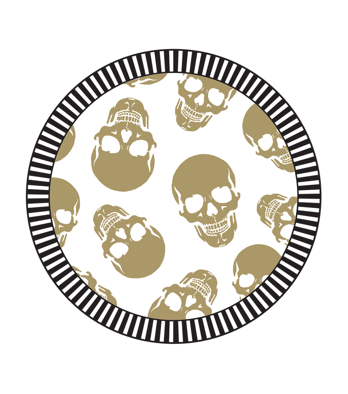 Maker's Halloween 8ct Lunch Paper Plates-Gold Skulls